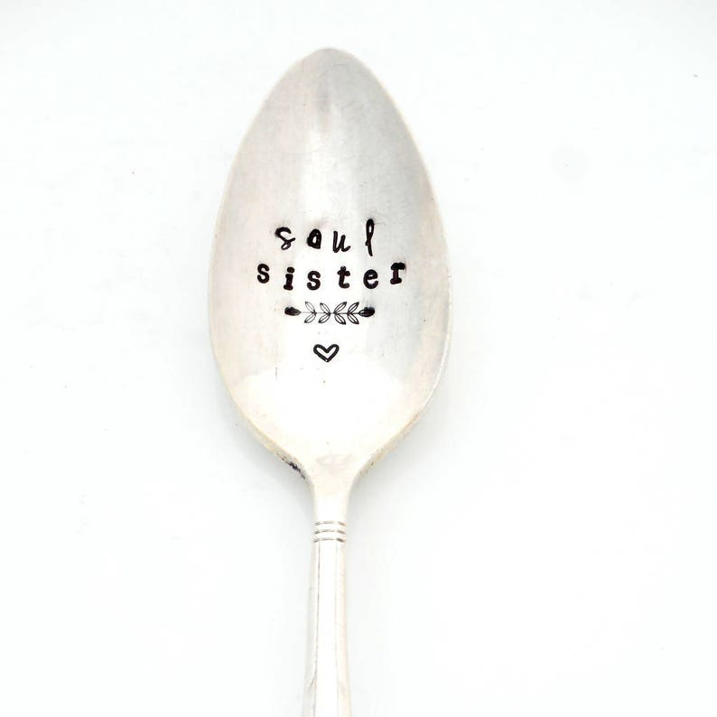 SOUL SISTER Coffee Spoon The Original Hand Stamped Vintage Spoons\u2122 by Sycamore Hill Gift Idea for BFF Girlfriend Tea or Coffee Lover