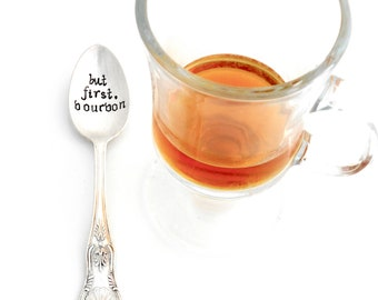 but first, BOURBON Hand Stamped Coffee Spoon. Teaspoon. The ORIGINAL Hand Stamped Vintage Coffee Spoons™ by Creator, Kelly Galanos. Derby