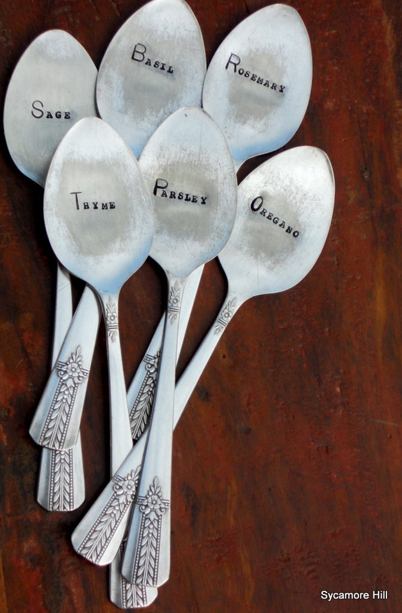 Herb Garden Marker made from Vintage Silver Plate Spoon YOU CHOOSE HERB