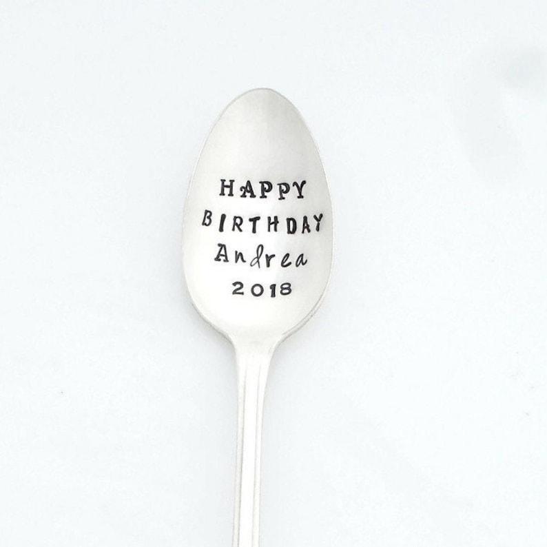 Custom TALL Iced Teaspoon Stamped Spoon Personalized Iced Teaspoon The ORIGINAL Hand Stamped Vintage Coffee Spoons\u2122 you choose FONT