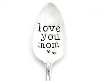 Love you Mom Spoon.  The ORIGINAL Hand Stamped Vintage Coffee Spoons™ by Sycamore Hill.  Personalized Custom Teaspoon. Number One Grandma