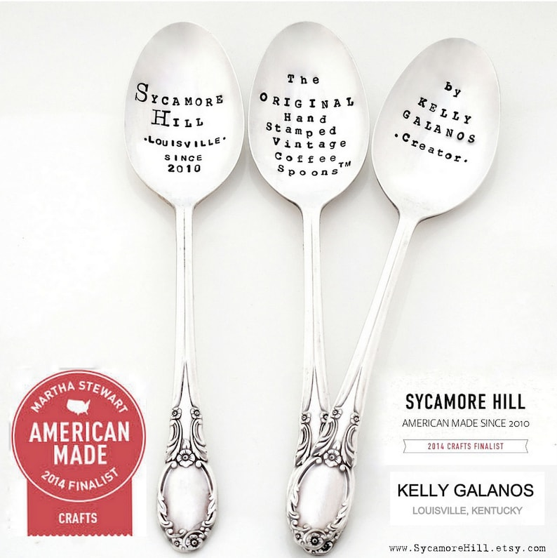 The ORIGINAL Subway Poster Art Style Cocktail Recipe Stirrer Spoons\u2122 The MINT JULEP Stamped Tall Cocktail Spoon or Choose Teaspoon Size