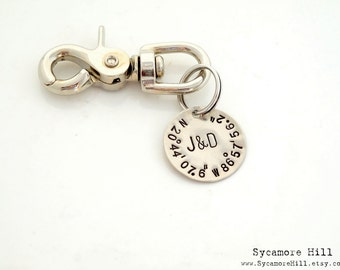 The Salty Dog Key Fob™ CUSTOM Longitude Latitude Coordinates Key Ring. Classic. Silver Key Chain. Brass Key Fob. INITIALS, Monogram, or Name