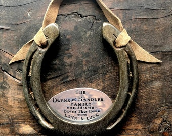 The Blended Family Love & Luck Horseshoe™ Custom, Personalized Equestrian Style Home.  Perfect Wedding Gift for New Family. Home Sweet Home