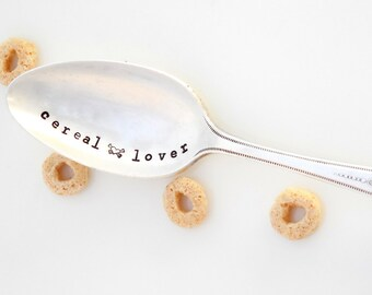 Cereal LOVER Teaspoon Size, with heart, crossbones design. Choose FONT, LAYOUT. The Original Hand Stamped Vintage Spoons™ by Sycamore Hill