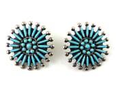 ZUNI Gilbert Bawonnie Sterling Silver Turquoise Petit Point Wheel Earrings, Clip On