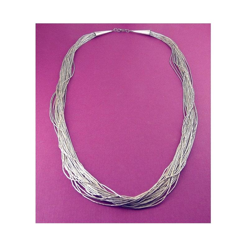 f1cd3f3fab285 Native American Sterling Silver 30 Strand Liquid Silver Necklace, 25 Inches