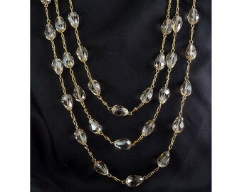 """Champagne Briolette Stations Chain Necklace, 62"""" Long"""