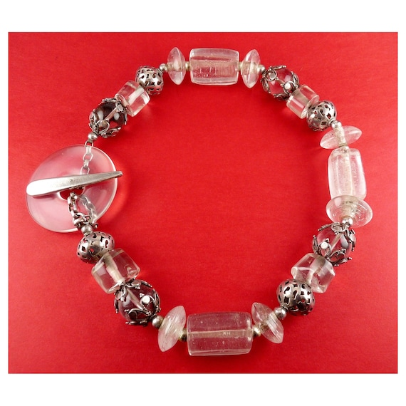 Vintage David Navarro Crystal Quartz, Sterling & Glass Beads Necklace, Large Glass Toggle Clasp