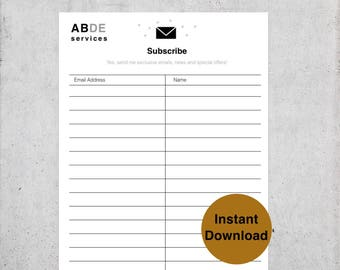Email List Template Newsletter Sign Up Form Digital PDF