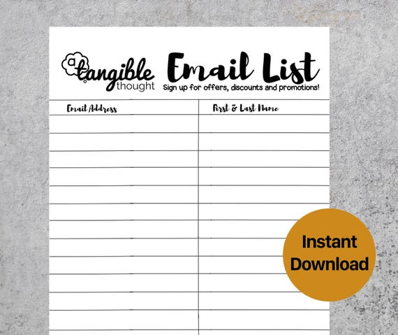 Email List Template Newsletter Sign Up Form Digital Pdf Etsy