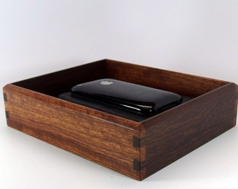 """Dovetailed Valet Box in Exotics Bubinga and Katalox. Wooden Tray Upholstered in Suede Fabric. 7.75"""" x 6.25"""" x 2"""""""