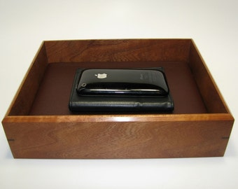 """Exotic Wood Valet Box. Wooden Tray Upholstered in Leather. 9.25"""" x 7.5"""" x 2.25""""."""