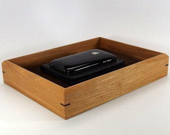 "Hickory Valet Box. Low Profile Tray for Keys Wallet. 9.5"" x 7"" x 1.75"". Dresser Box."