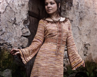 Magical Double side Long dress  Long Sleeve made of hand woven cotton with original embroidery
