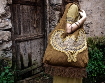 TribalEthnic Boho  Brown Big Bag with Egyptian Scarab embroidery  5 pockets Natural eco friendly Ethnic