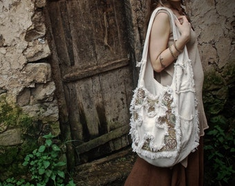 Cream Durable Functional Tribal big Bag with Mayan style embroidery Ethnic Boho  Earthy Natural