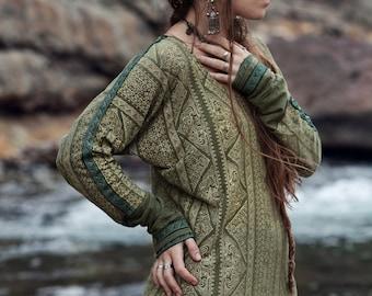Organic Ethnic Olive green Long sleeve Women T-shirt Hemp Cotton