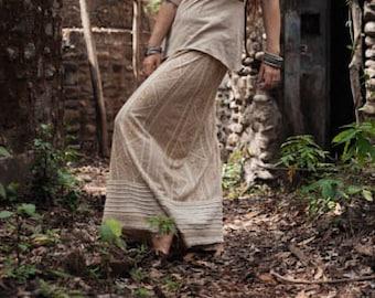 Ready to Ship Cream long skirt made of Organic Hemp Cotton tribal ethnic eco friendly boho