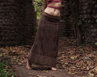 Ready to ship Brown long skirt made of Organic Hemp Cotton vegetable dye Natural color tribal ethnic eco friendly boho