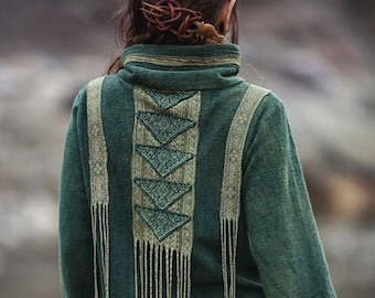 Ready to Ship Organic Vegetable Dyed River Dance Turquoise Jacket Natural Ethnic Tribal Boho Native American style inspired