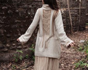 Ready to Ship Organic Hemp Cotton Jacket Natural Ethnic Tribal Boho Native American style inspired