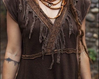 Earth daughter  Tunica dark brown Made of organic cotton hemp ethnic tribal Native American style Earthy natural boho Ready To Ship