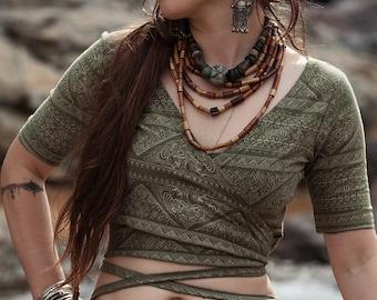 Ready to Ship Organic Hemp cotton olive green boho Tribal Bolero Tribal fusion belly Dance Top