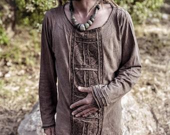 Ready to Ship Odin Viking spirit brown Long sleeve men shirt Vegetable dyed organic Cotton Hemp pullover