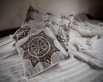 TWO Cushions Covers Set  Made of Raw Silk with Embroidery Boho Natural Home Decor