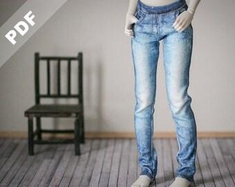 "1/4 BJD ""Stretch Jeans"" PDF Pattern for MSD, Forever Virginia Kid Briar and Fashion BJDs & Ellowyne Wilde"