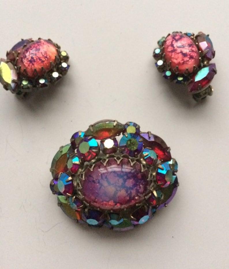 Vintage Art Deco Earring and Brooch Set-Cat Eye Fire Opal