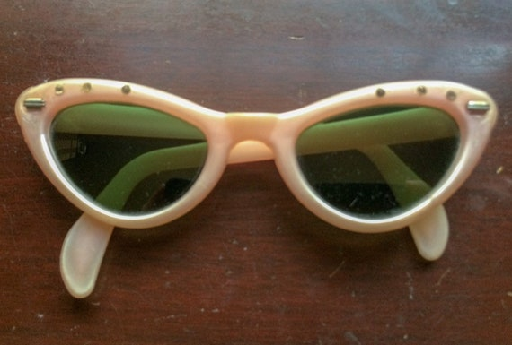 Vintage Pink Cat Eye Sunglasses 1940's - 1950's