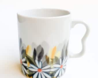 Vintage 70s Yellow and Gray Floral Mug with Two Finger Handle