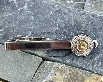 Tie Bar Tie Clip Mens Gift  Handmade Winchester Bullet 45 Caliber Nickel Plated With Clear Rhinestone