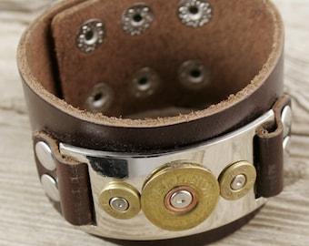 Bullet Bracelet / 3 Bullet Leather Bracelet RP-20-40-DBCN-3BLB / Leather Bracelet / Leather Bullet Bracelet / Shotgun Bracelet / 40 Cal Gift