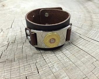 Bullet Bracelet, 12 Gauge Shotgun Leather Bracelet, Leather Bracelet, Leather Bullet Bracelet , Shotgun Cuff Bracelet, Remington Bracelet