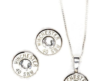 Gift Set / Bullet Earrings / Bullet Necklace / Winchester 40 Caliber Nickel Gift Set WIN-40-N-SGS / Sterling Silver Bullet Stud Earrings
