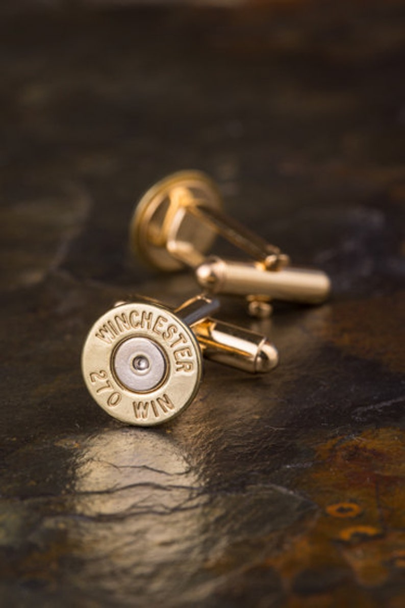 Bullet Cufflinks  Winchester 270 Brass Bullet Cufflinks WIN-270-BN-CL  Wedding Cufflinks  Custom Cufflinks  Quantity Discounts!