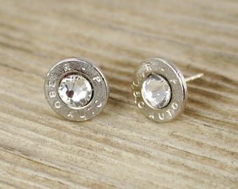 Bullet Stud Earrings / 380 Auto Nickel Bullet Head Stud Earrings RP-380-N-SEAR / Bullet Earrings / Studs / Stud Earrings / Sterling Silver