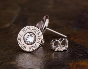 Bullet Earrings / 7mm-08 Nickel Bullet Head Stud Earrings WIN-7MM08-N-SEAR / Studs / Sterling Silver Earrings / Sterling Jewelry / Custom
