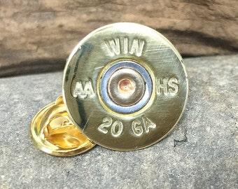 Bullet Hat Pin / Winchester 20 Gauge Brass Shotgun Tie Tac WIN-20-BNC-TT / Father's Day Gift / Wedding Tie Tack / Bullet Tie Tac / Groom