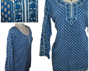 GRAND OPENING SALE Blue Indian Shirt  India Shirt India Tunic 60s Hippie Shirt Bohemian Shirt Boho Shirt Boho Tunic