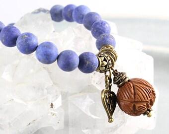 Lapis Bracelet, Lapis Stretch Bracelet, Lapis Mala Bracelet, Lotus Bracelet, Mala Bracelet, Yoga Jewelry, Yoga Fashion, Lapis Lazuli, Yoga