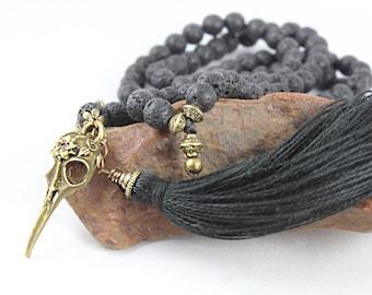 Raven Skull Mala, Mala Beads, Mala Necklace, Skull Necklace, Wiccan Jewelry, Wicca, Lava Stone Necklace, Kali Mala, Goth Jewelry, Mala 108