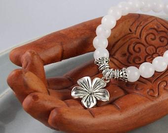 Quartz Bracelet, Silver Flower Bracelet, Stretch Bracelet, Gemstone Bracelet, Quartz Mala Bracelet, Yoga Style, Mala Bracelet, Yoga