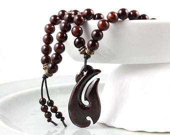 Mala Beads, Maori Mala Beads, Mens Mala, Rosewood Mala, Meditation Beads, Maori Necklace, Maori Pendant, Prayer Beads, Wood Bead Necklace