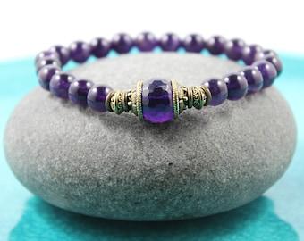 Amethyst Bracelet,  Mala Bracelet, Gemstone Bracelet, Yoga Stretch Bracelet, Amethyst Stretch Bracelet, Yoga Bracelet, Purple Bracelet, Mala