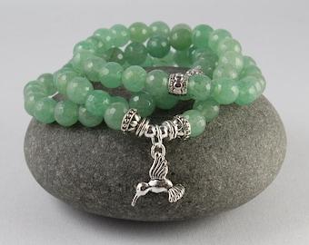 3 Bracelet Stack, Hummingbird Bracelet, Stretch Bracelet, Green Aventurine Bracelet, Mala Bracelet Set, Yoga Style, Gemstone Bracelet, Yoga