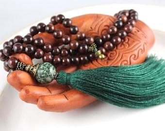 Rosewood Mala Beads, Tree Agate Mala, Gemstone Mala, Tassel Necklace, Meditation Beads, Prayer Beads, Mens Mala, Mala Necklace, Yoga Jewelry